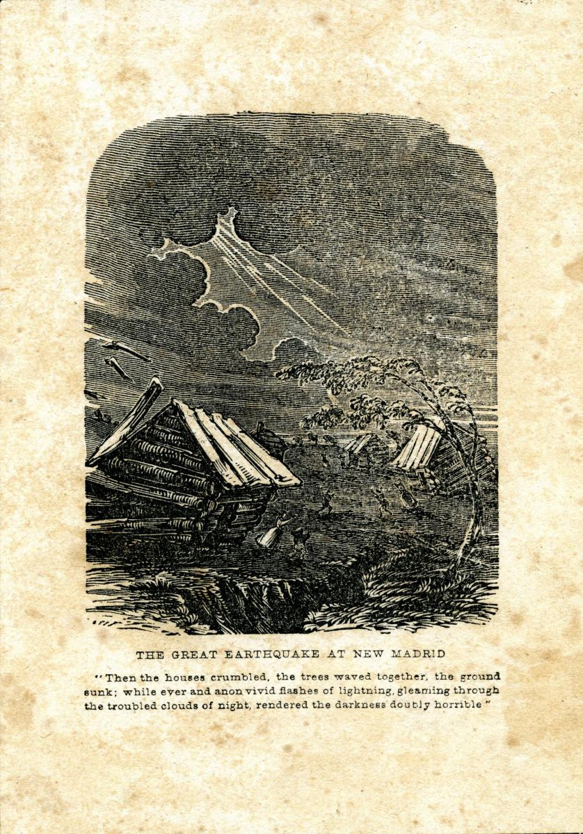 Wood engraving of the Great Earthquake at New Madrid