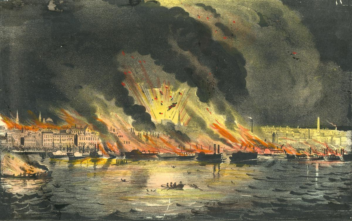 Handcolored lithograph of the Great Fire of 1849