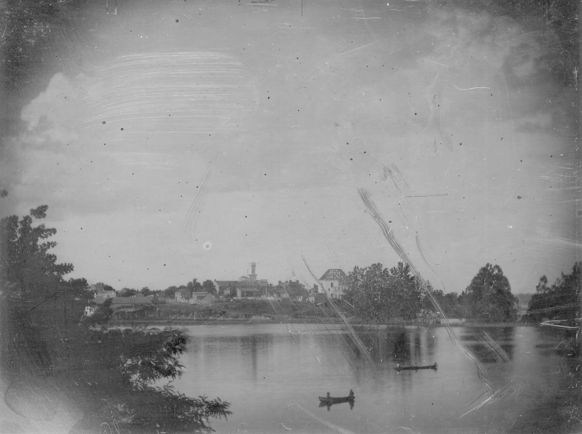 Black-and-white daguerreotype of Chouteau's Pond