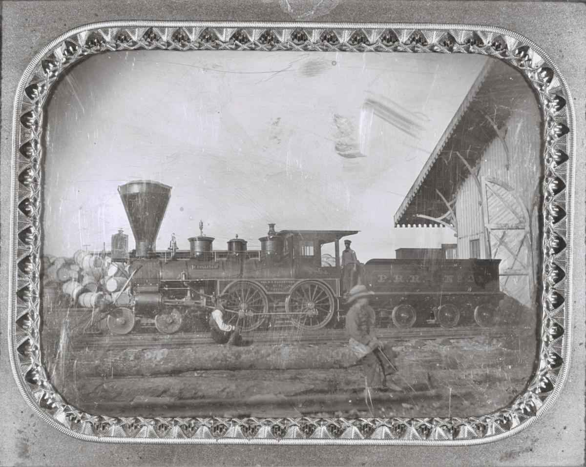 Black-and-white daguerreotype of Pacific Railroad freight locomotive O'Sullivan