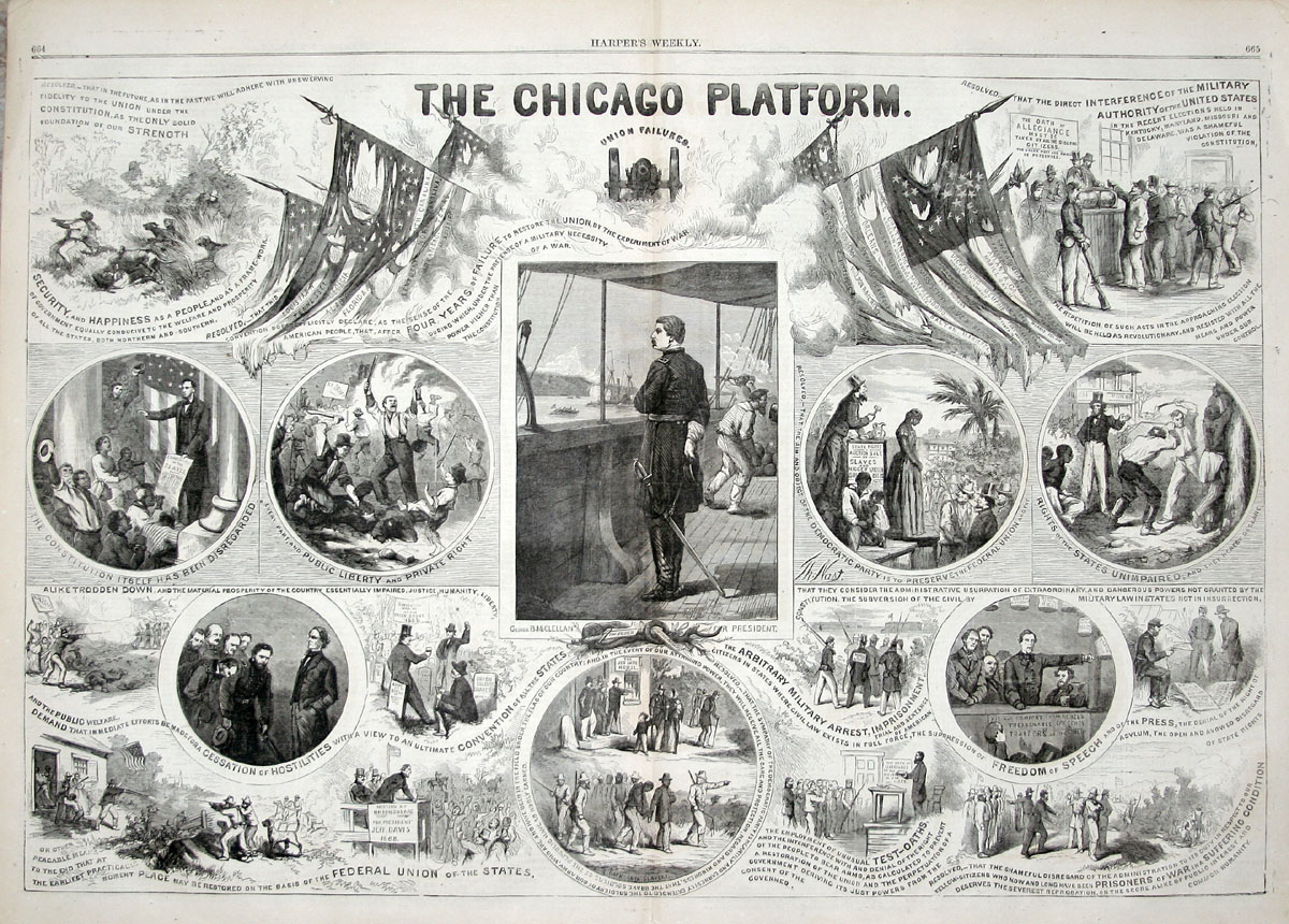 """The Chicago Platform: Union Failures,"" illustration by Thomas Nast in Harper's Weekly, October 15, 1864."