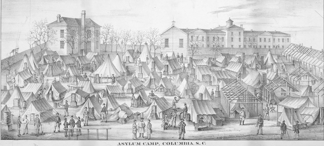 Drawing of Camp Asylum in South Carolina during the Civil War.