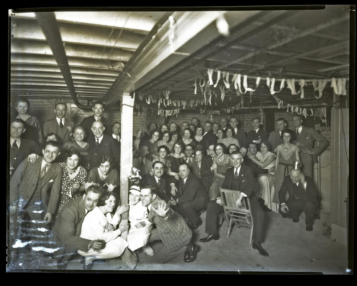 Black-and-white photo of party in 1931