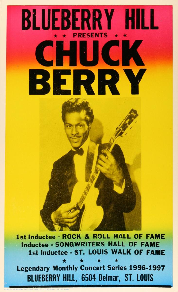 Color poster promoting a 1996 Chuck Berry performance in the Delmar Loop