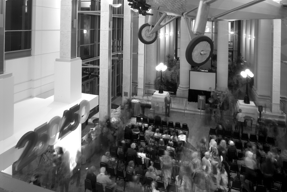 Long-exposure of the opening night crowd for the 250 in 250 exhibit.