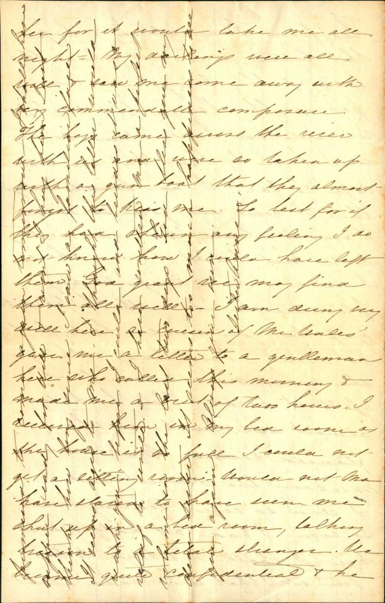 Scanned example of crossed writing