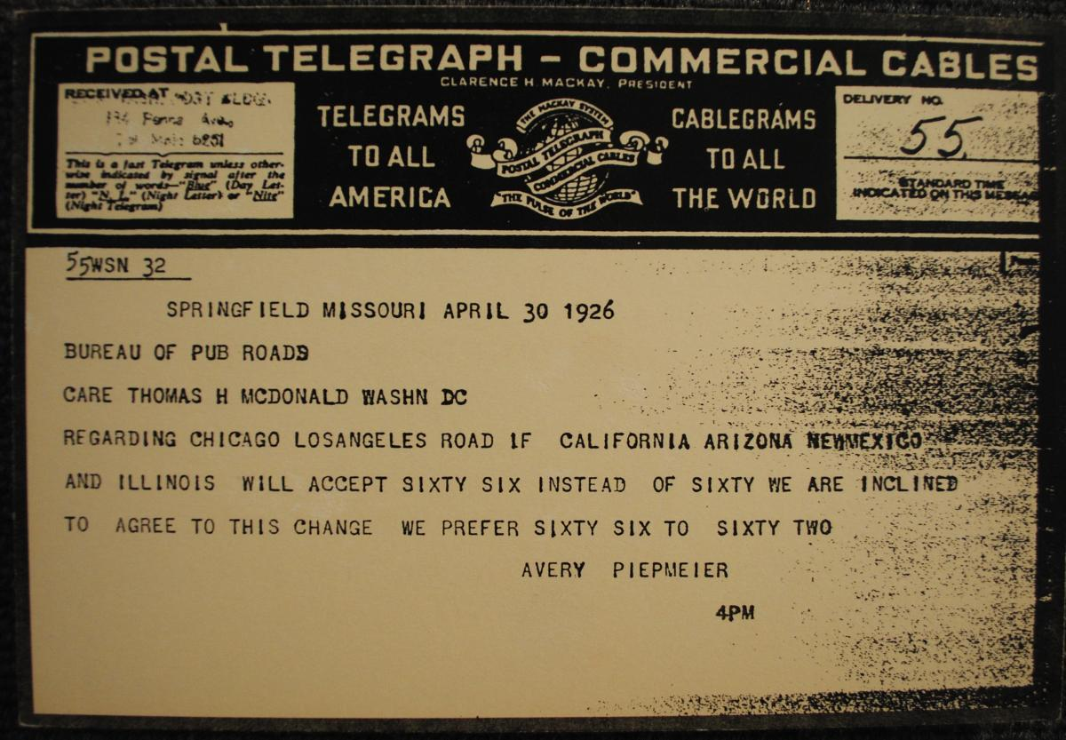 Scan of Route 66 telegram dated April 30, 1926
