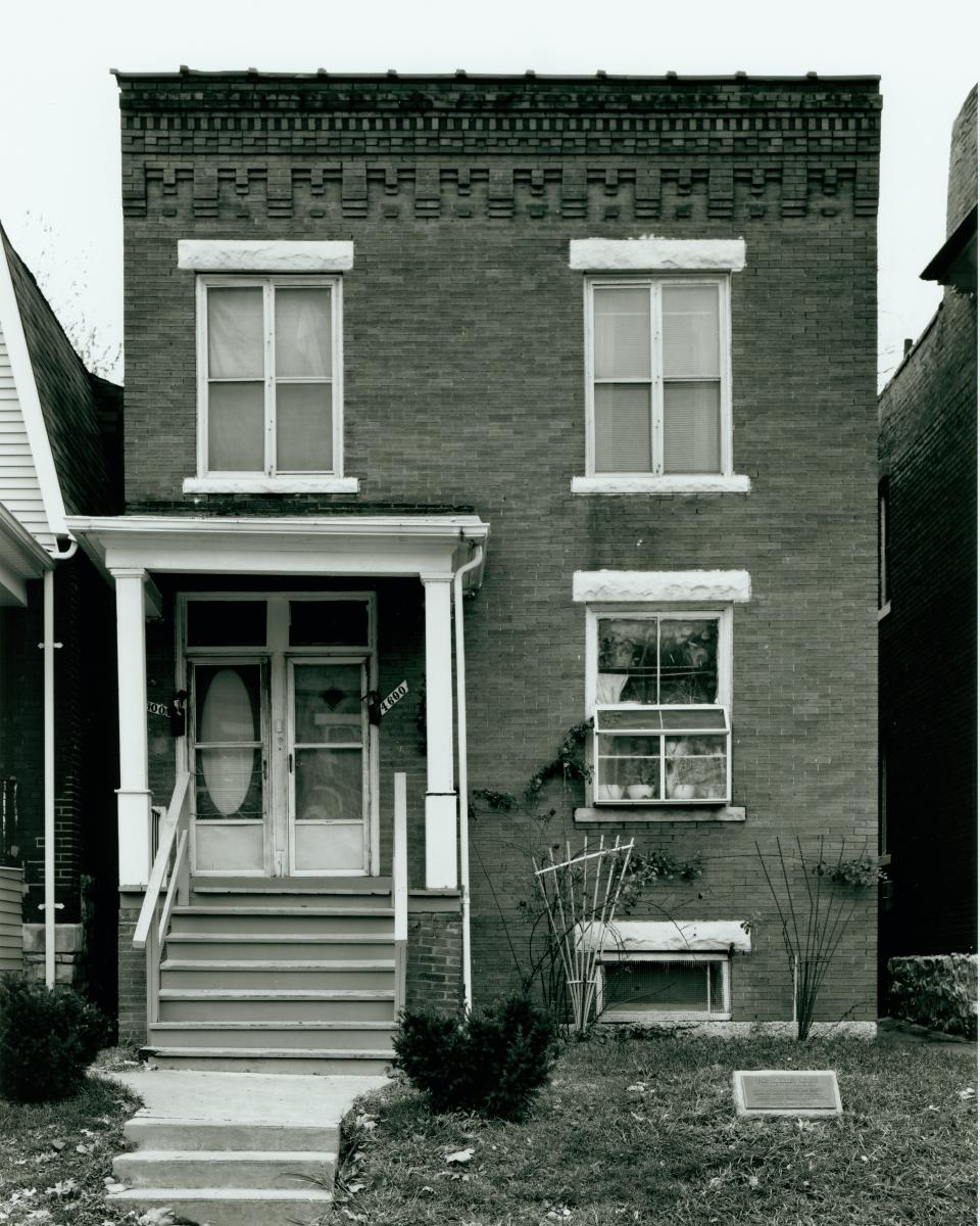 Black-and-white photo of the Shelley home at 4600 Labadie Ave.