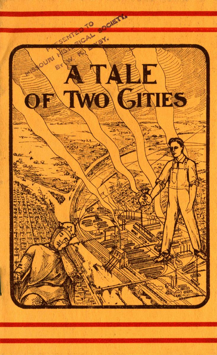 "Color scan of cover of ""A Tale of Two Cities"" pamphlet"