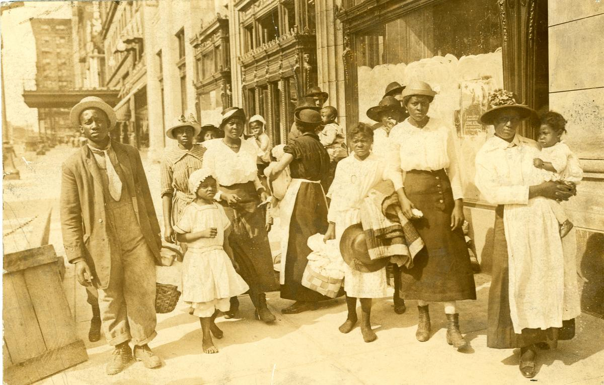 Sepia-toned photo of East St. Louis refugees in St. Louis
