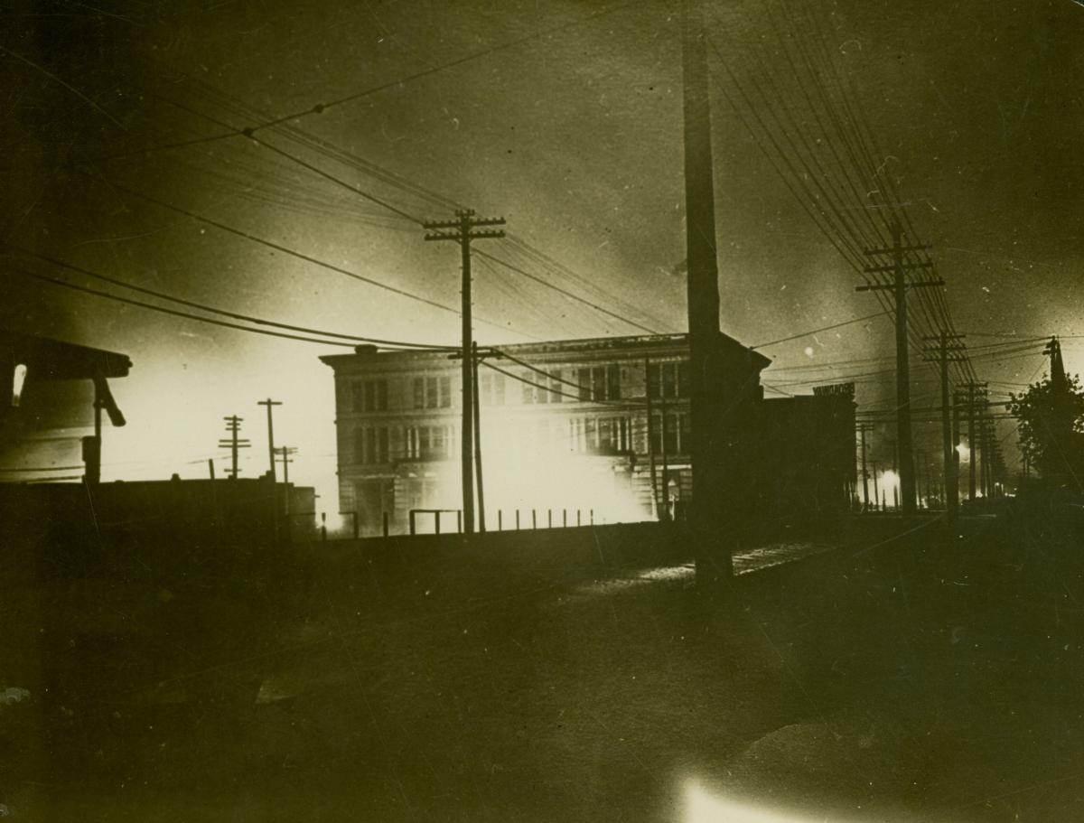 Photo of the East St. Louis Public Library burning during the 1917 riot
