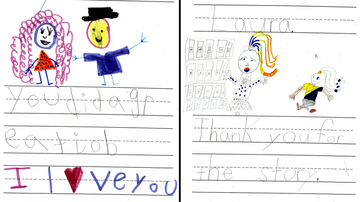 Photo of two thank-you letters from students following their ACTivist in-school visits