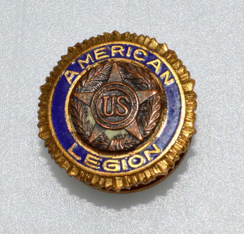 Photo of American Legion pin from World War I