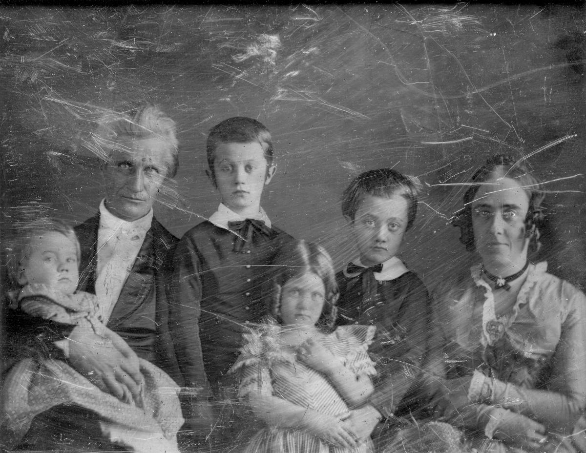Black-and-white daguerreotype of Rev. Artemus Bullard and his family