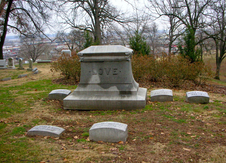 headstones of the James Love family at Bellefontaine Cemetery in St. Louis