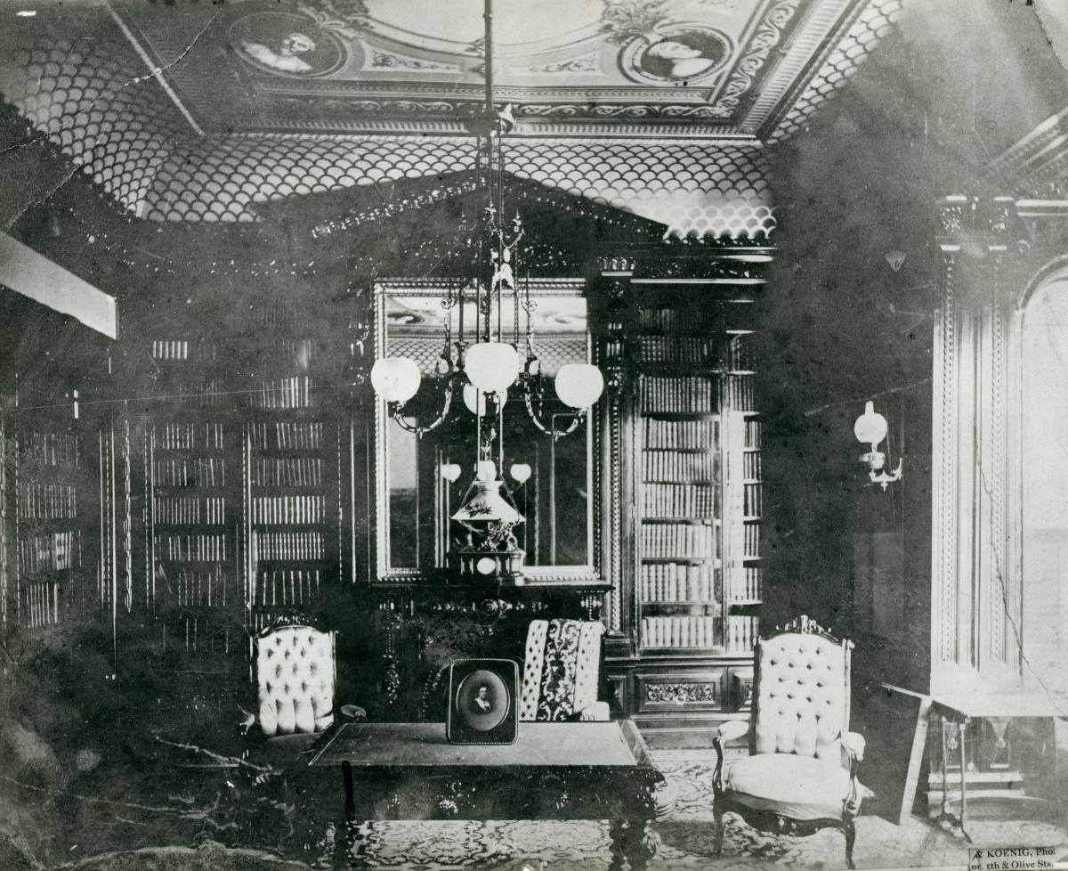 Black-and-white photo of the Blow family library