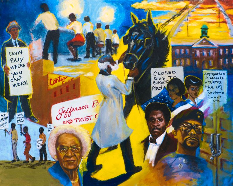 "Colorful mural from MHM's ""#1 in Civil Rights"" exhibit"