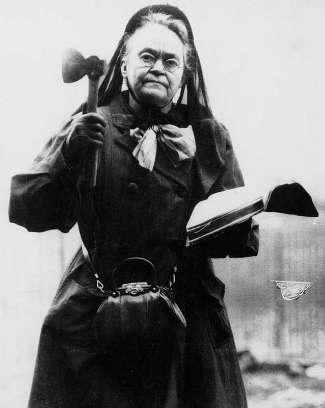 Black-and-white photo of Carrie Nation