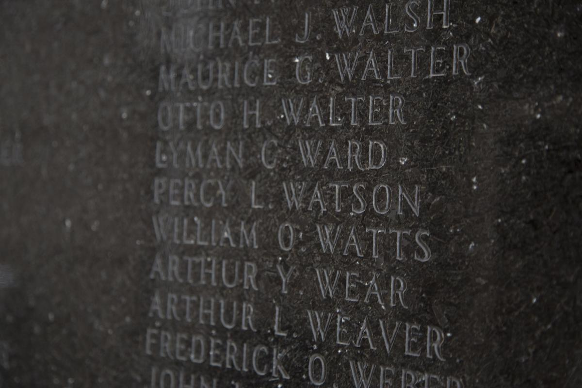 Color photo of name details on the cenotaph at Soldiers Memorial