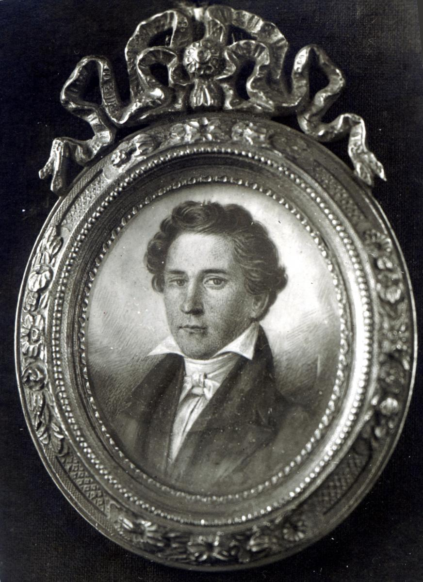 Black-and-white miniature portrait of Charles Lucas