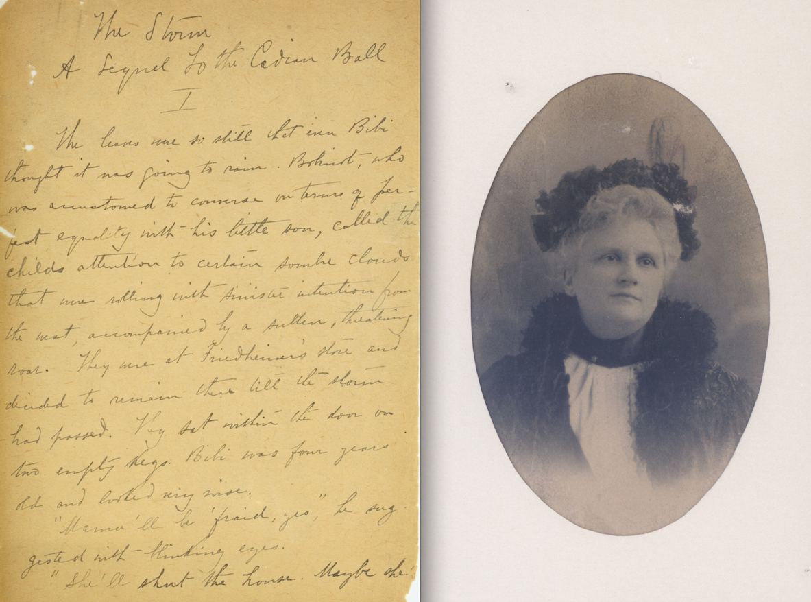 Color scan of original manuscript page and portrait of Kate Chopin