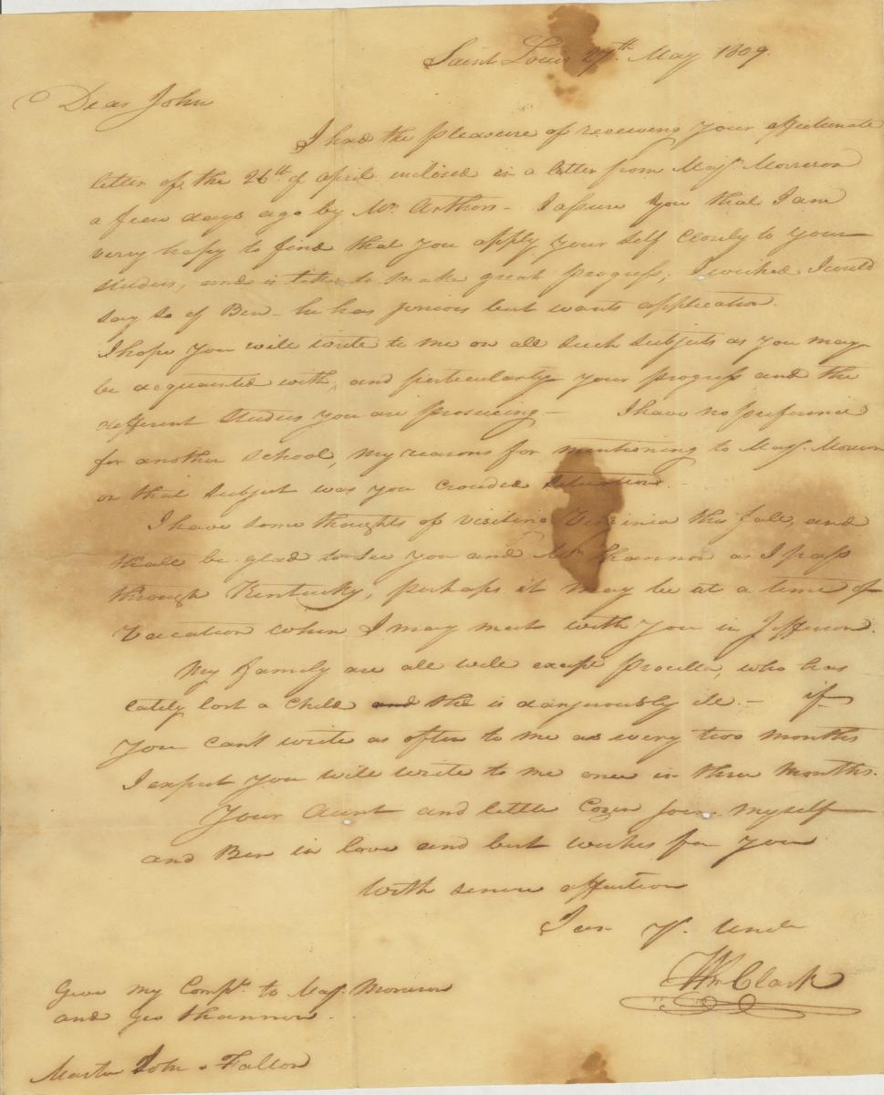 Scan of 1809 letter from William Clark to John O'Fallon
