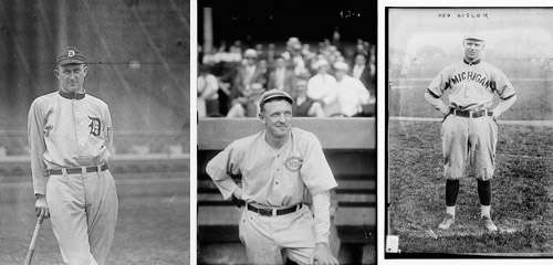 player photos of Ty Cobb, Christy Matthewson, and George Sisler, 11915–1917.