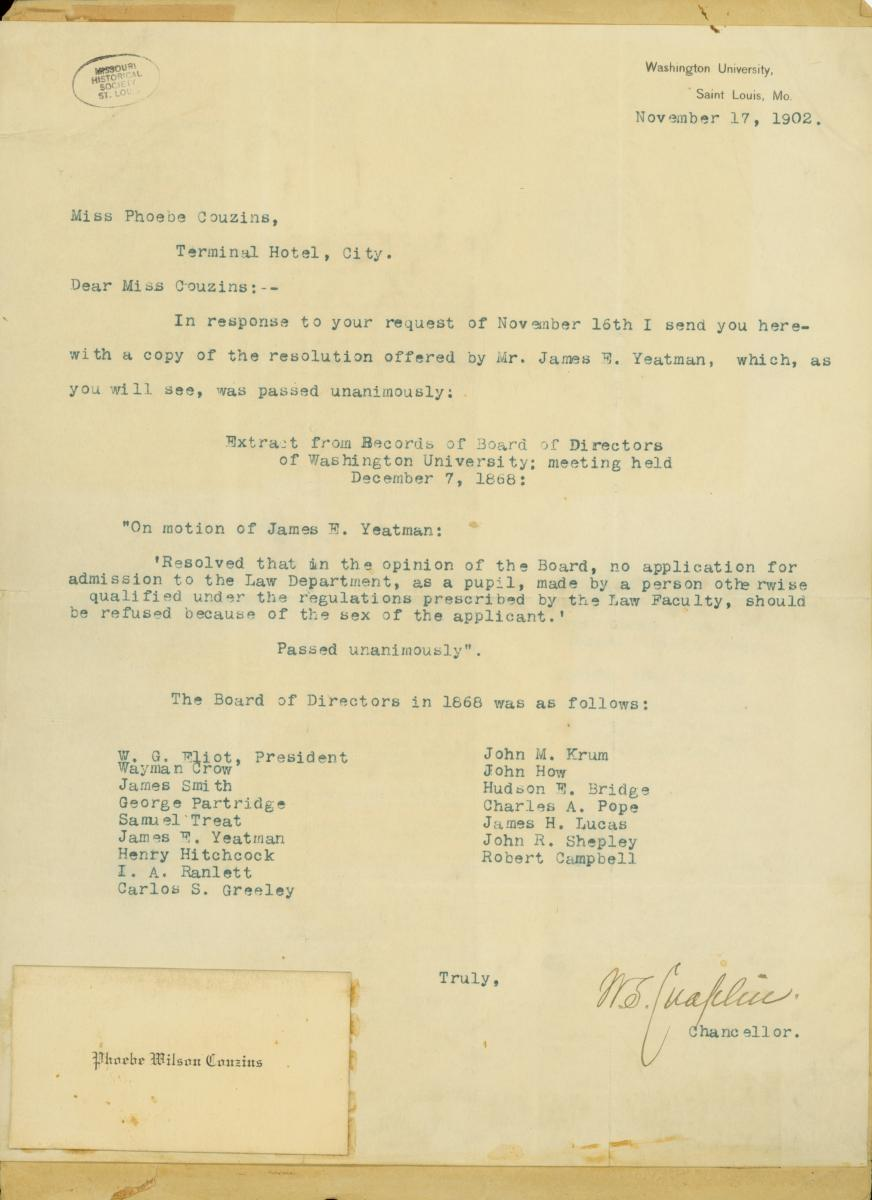 Scan of letter noting Couzins's admission to the Washington University School of Law