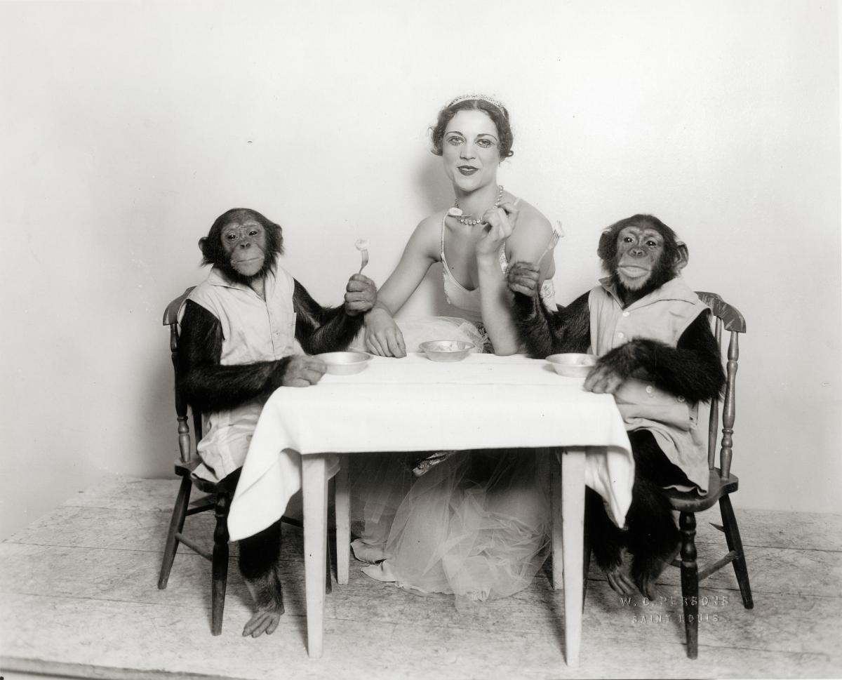 Black and white photo of a woman in a dance costume eating banana slices with two monkeys.