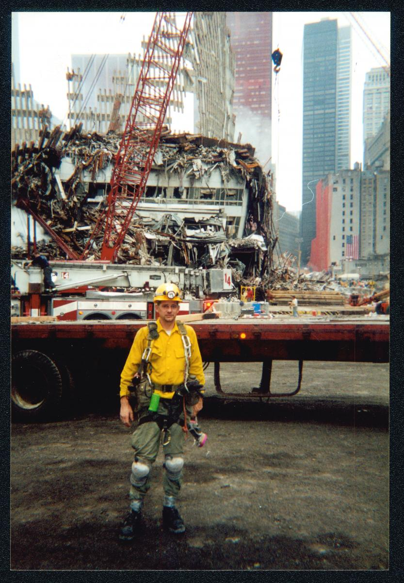 Color photo of volunteer rescue worker Dennis Grooms at Ground Zero
