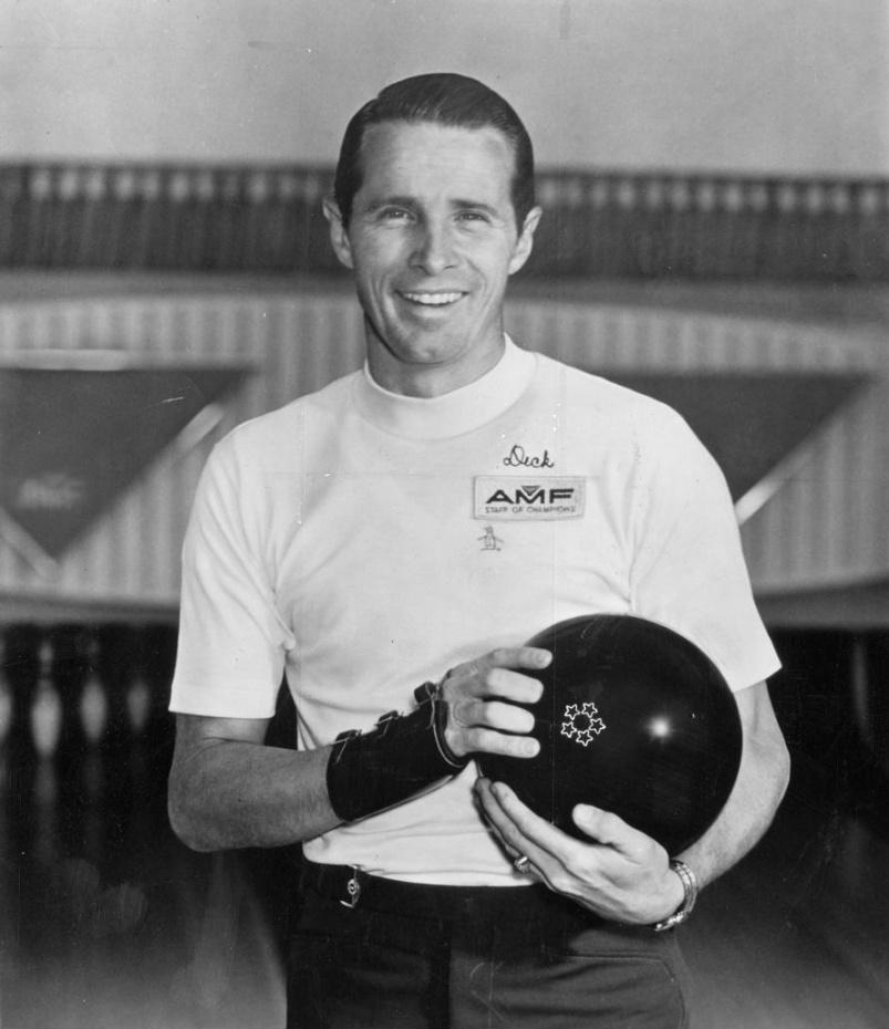 Black-and-white photo of Dick Weber in bowling attire