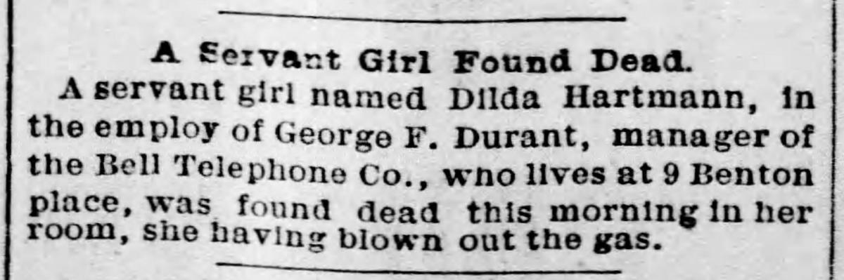 Scan of news article about death of Dilda