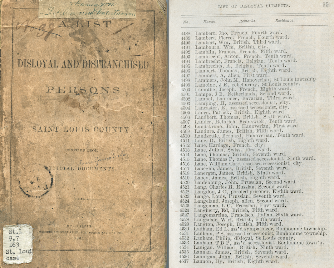 Scan of covor and interior page of A List of Disloyal and Disenfranchised Persons in St. Louis