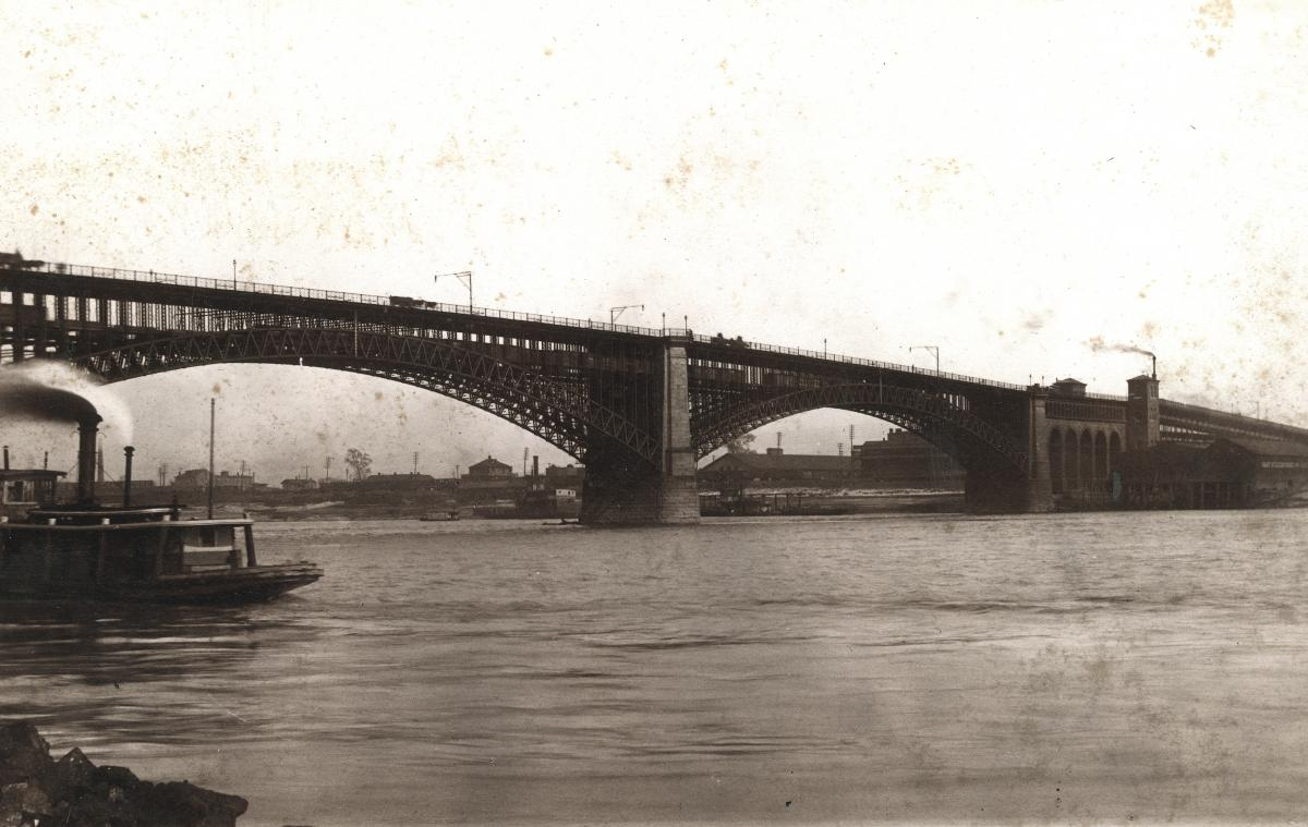 Sepia-toned photo of completed Eads Bridge in 1874