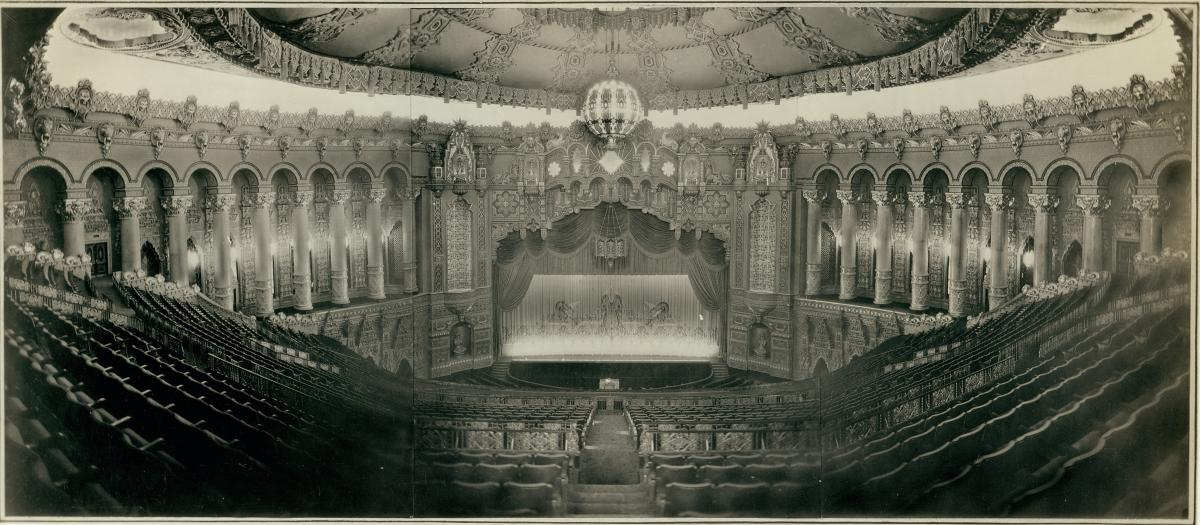 Black-and-white photo of view from Fox Theatre balcony