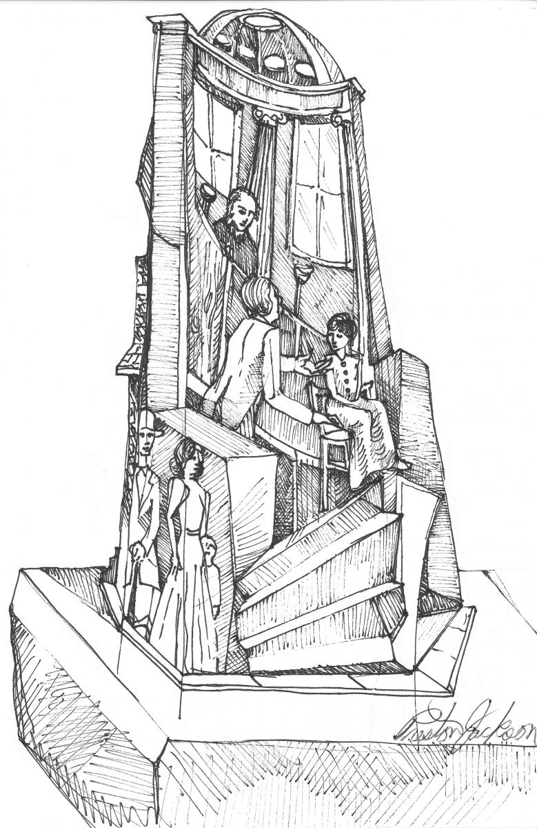 Black-and-white sketch of proposed Freedom Suits Memorial