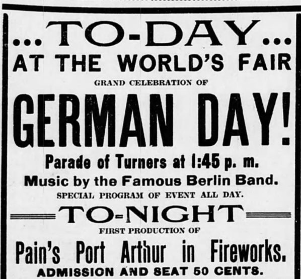 Black-and-whtie ad for German Day from the St. Louis Republic
