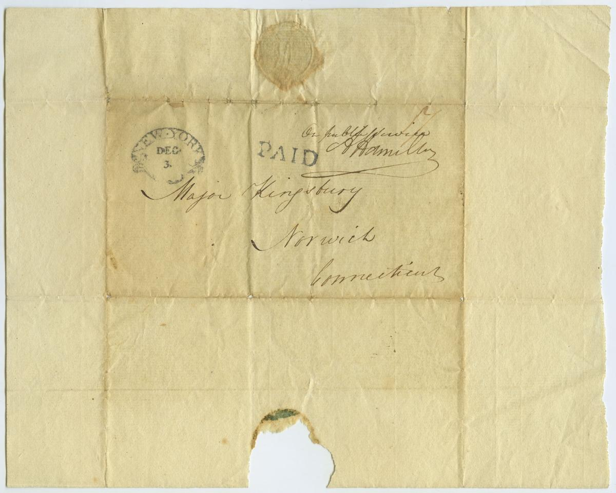 Envelope of Hamilton letter