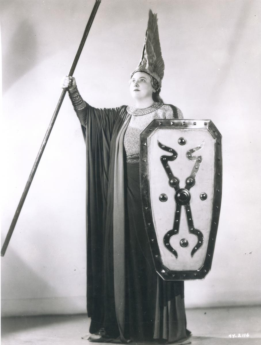 Black-and-white photo of Helen Traubel as the Valkyrie Brünnhilde in Die Walküre