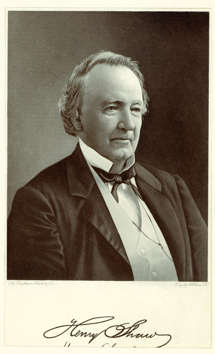 A vertical, steel engraving of Henry Shaw in a suit and tie; his authograph is below the portrait.