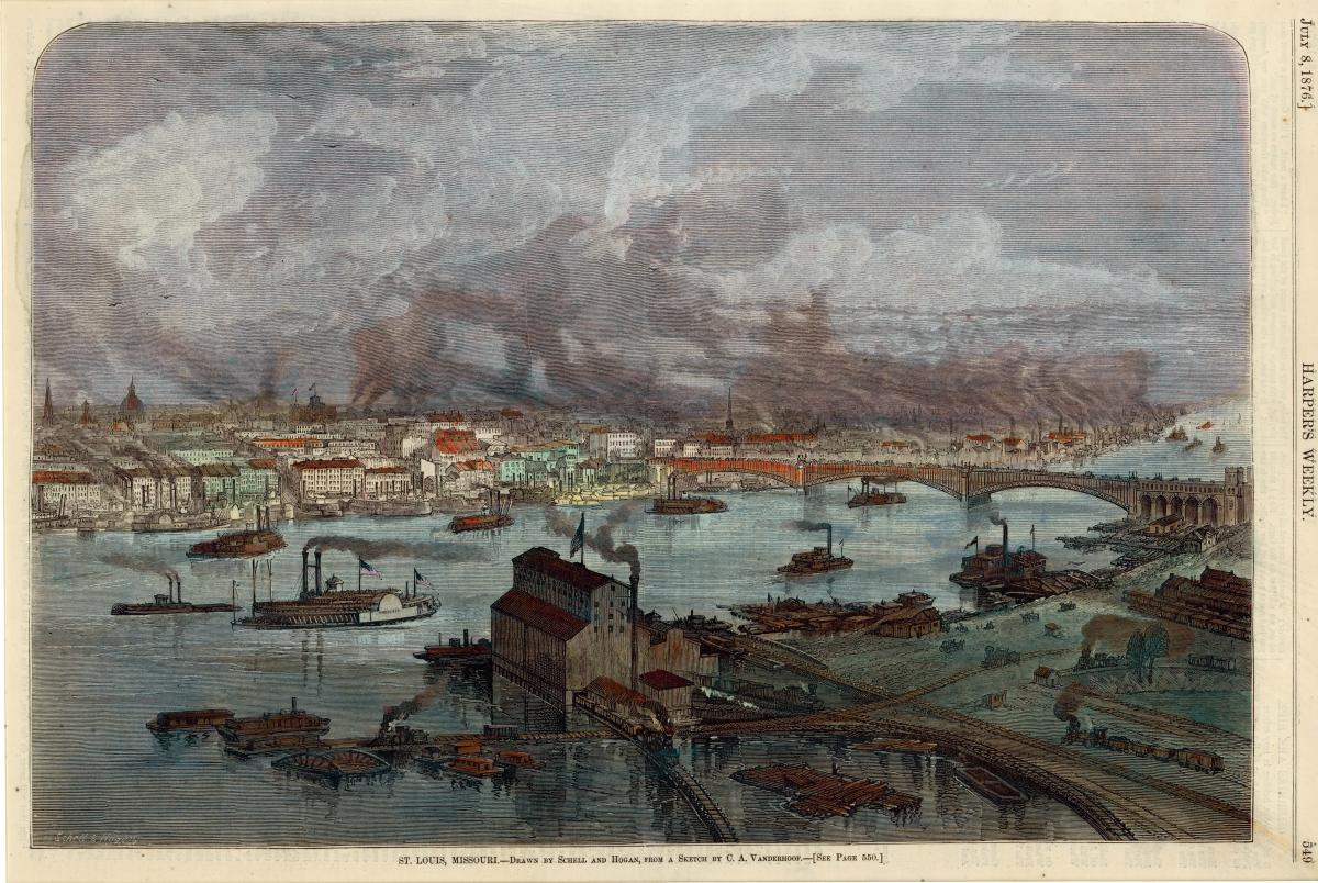 Color drawing of St. Louis in 1876