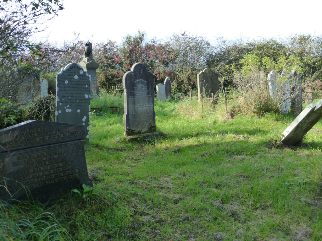 headstones on Ballypriormore graveyard in Ireland