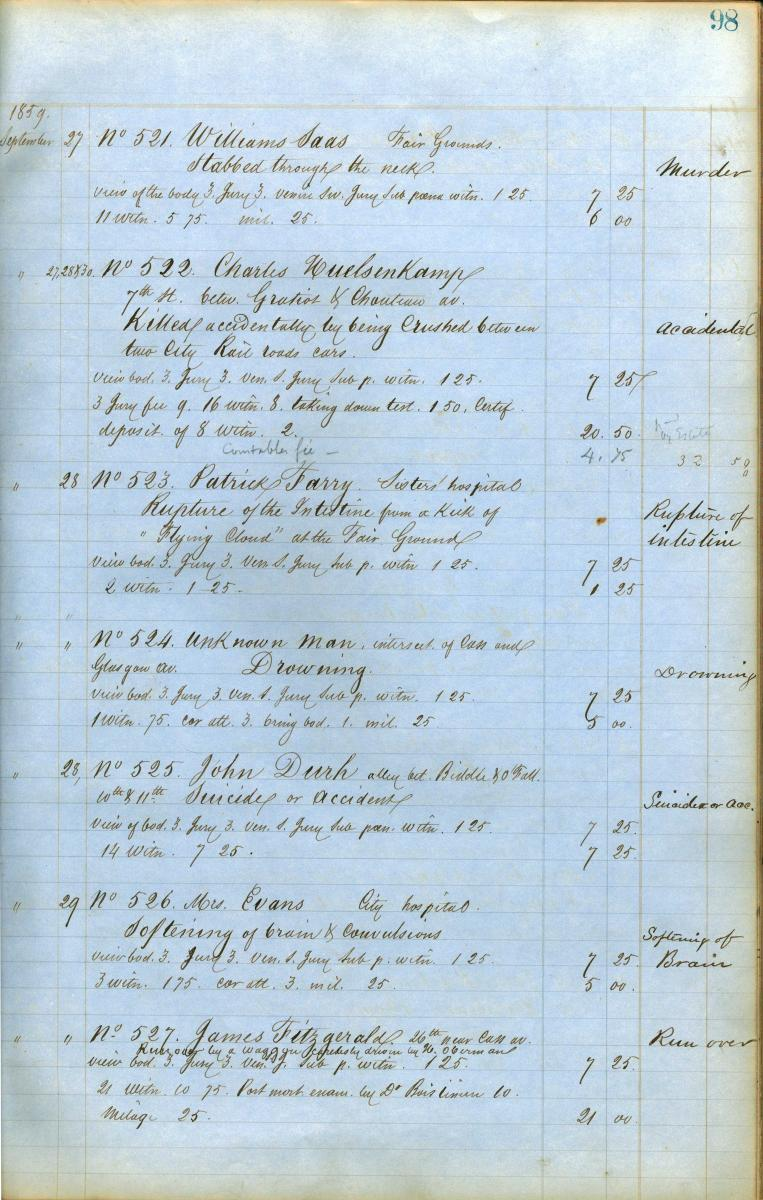 Scan of page from Coroner Boislineiere's inquest book