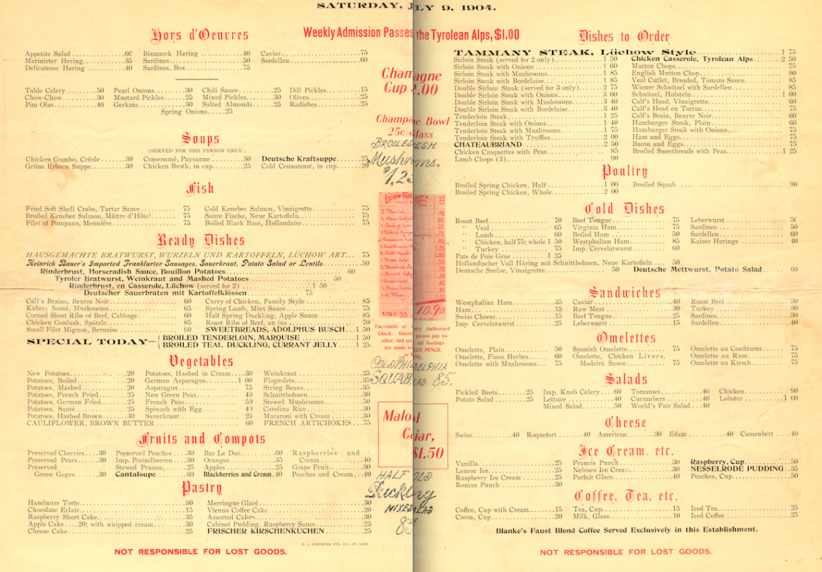 Scanned interior of menu from Luchow-Faust restaurant