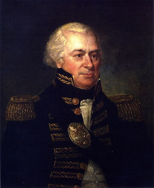 Color portrait of Gen. James Wilkinson in high-necked military garb