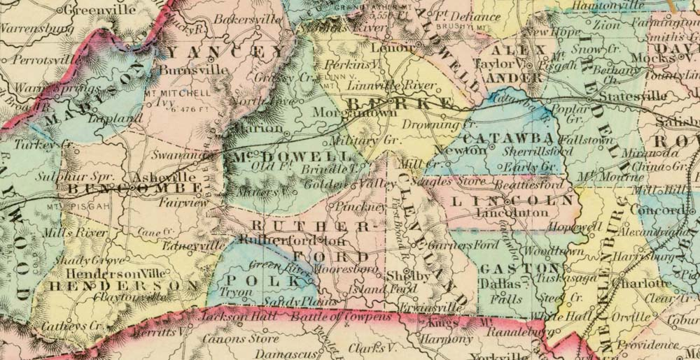 Section of map of North Carolina from Colton, George W. Colton's Atlas of the World Illustrating Physical and Political Geography, 1856