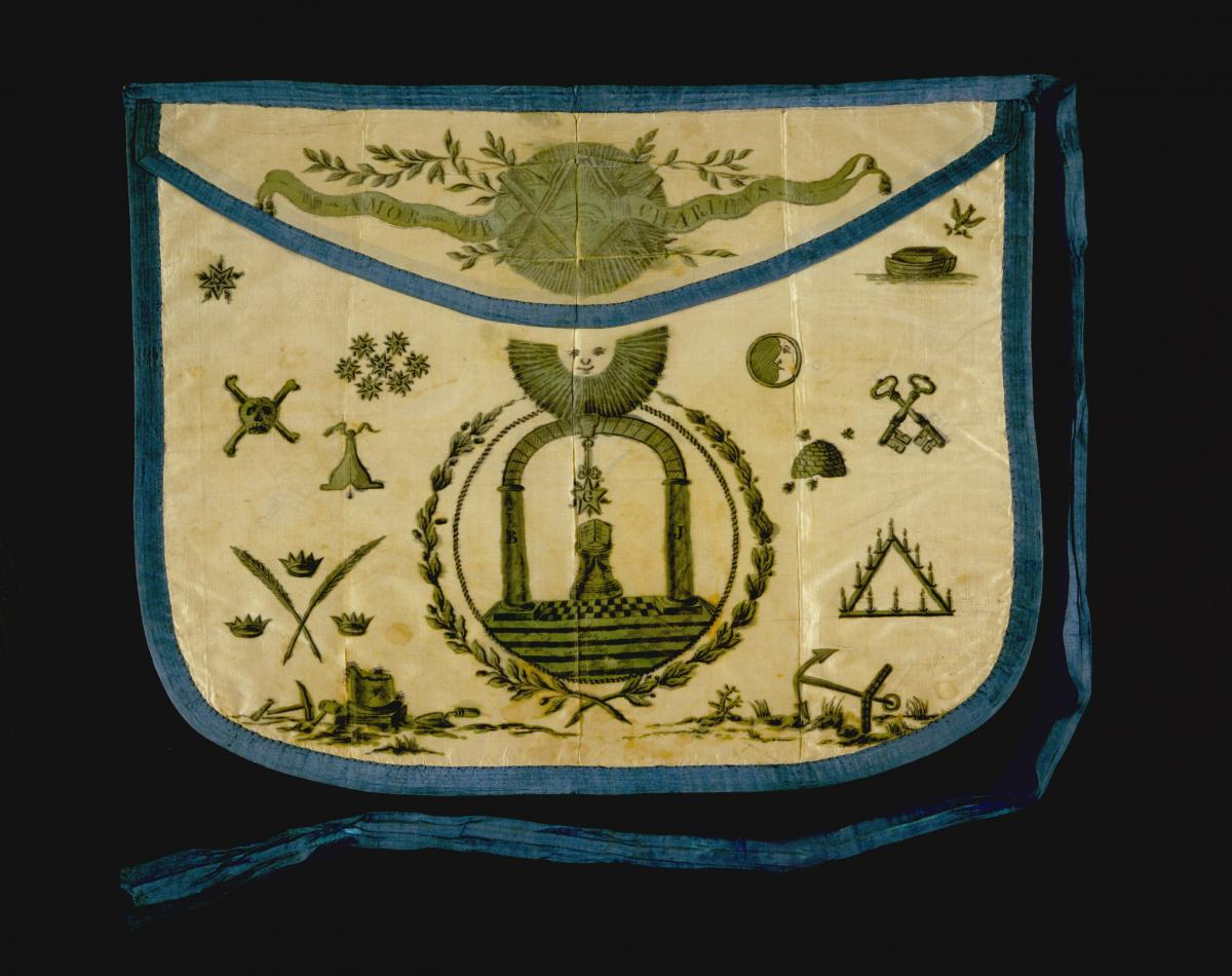 Color photo of Masonic apron worn by Meriwether Lewis