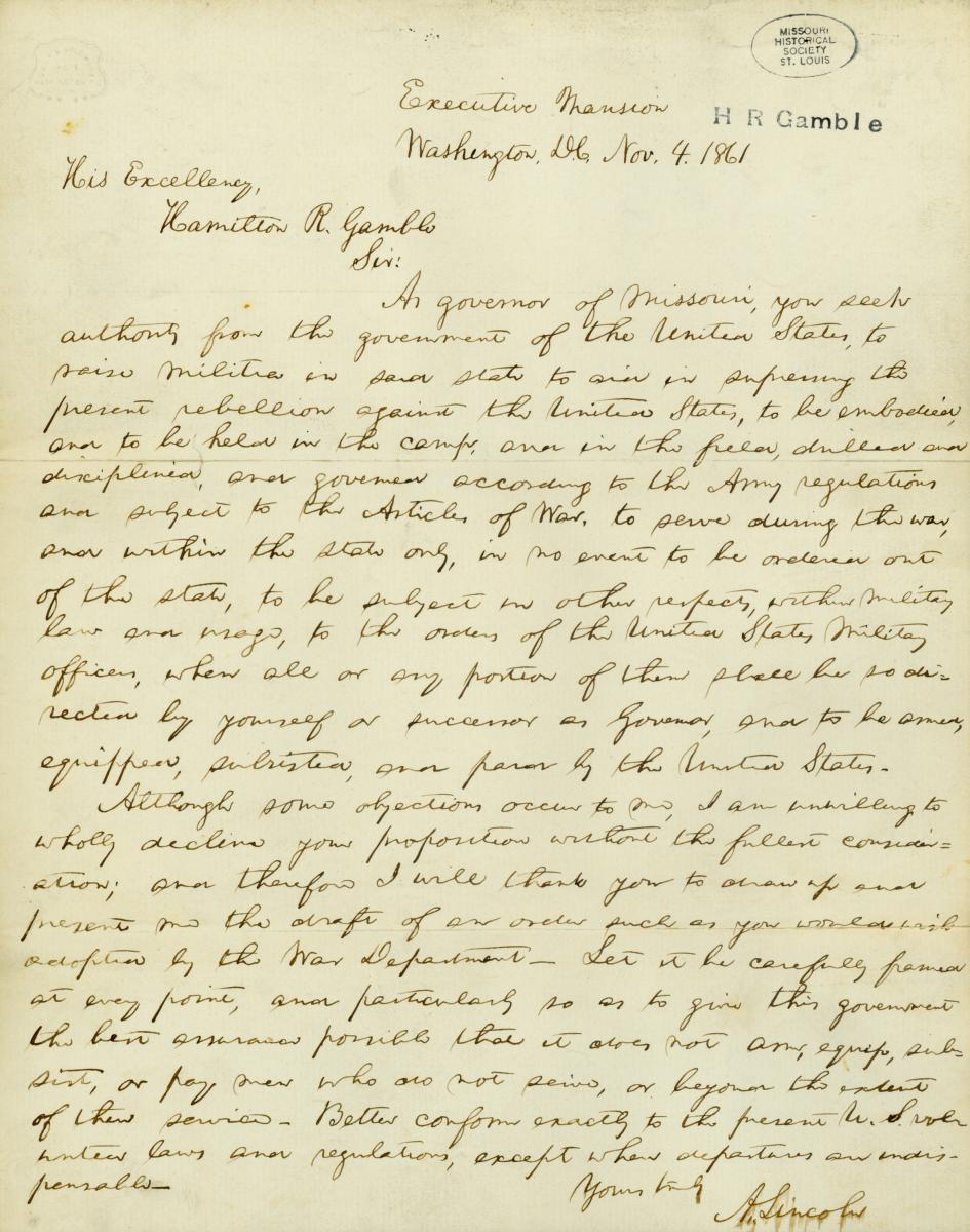 Scan of letter written by Abraham Lincoln