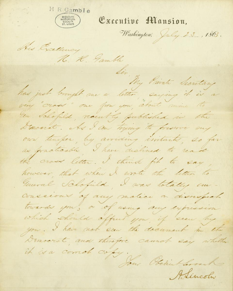 Scan of letter signed by Abraham Lincoln
