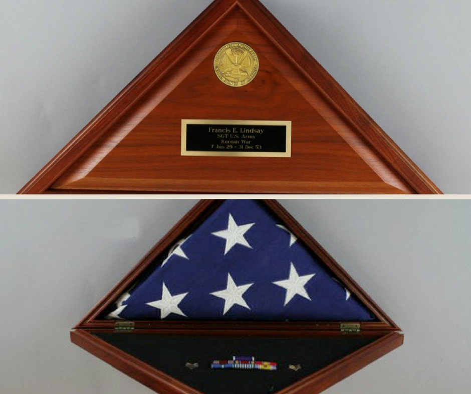 Photo of interior and exterior of Gene Lindsay's burial flag box